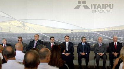 Jair Bolsonaro durante un acto en la hidroeléctrica binacional Itaipú (AFP)