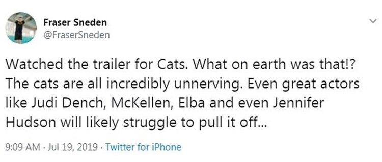 """En redes sociales criticaron el trailer de """"Cats"""" (Foto: Twitter)"""