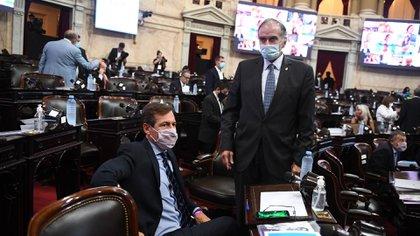 Dos senadores de la oposición se preparan. Sentado aparece Luis Naidenoff y de pie, Victor Zimmermann. (Comunicación Senado)
