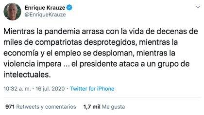 Así fue la respuesta de Enrique Krauze a los comentarios de AMLO sobre bloque opositor. (Foto: Captura de pantalla)