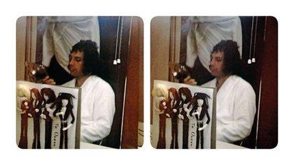 """""""Freddie con muñecos de los cuatro hechos con cariño"""", comentó May, sobre esta foto del líder de Queen durante la gira por Tokio (BM)"""