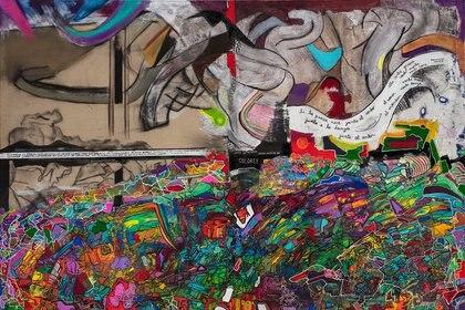 """""""Juego de palabras, juego mágico de colores"""". Acrílico, pastel seco y tinta sobre tela, 130x193( Estudio Roth)"""