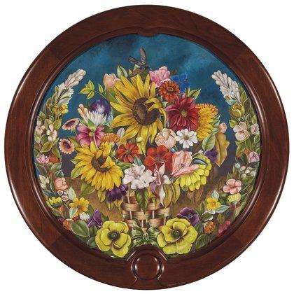 """En esta imagen proporcionada por Christie's, la pintura de Frida Kahlo de 1941 """"Canasta con flores"""", parte de la subasta de arte latinoamericano de Christie's en Nueva York programada para los días 20 y 21 de noviembre del 2019. (Christie's vía AP)"""