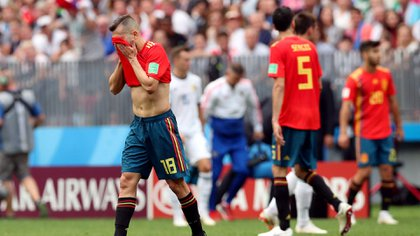 Soccer Football – World Cup – Round of 16 – Spain vs Russia – Luzhniki Stadium, Moscow, Russia – July 1, 2018 Spain's Jordi Alba reacts REUTERS/Albert Gea