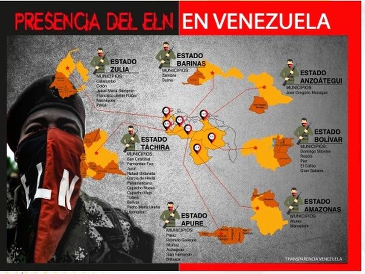 El ELN tiene presencia en cinco de los seis estados fronterizos: Bolívar, Táchira, Zulia, Apure y Amazonas.