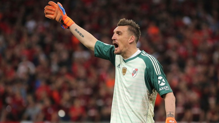 Goalkeeper Franco Armani of Argentina's River Plate reacts during a Recopa Sudamericana first leg final soccer match against Brazil's Athletico Paranaense in Curitiba, Brazil, Wednesday, May 22, 2019. (AP Photo/Giuliano Gomes)
