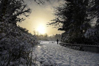 El Victoria Park de Glasgow, cubierto de nieve (Andy Buchanan / AFP)
