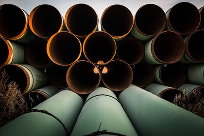 GASCOYNE, ND - OCTOBER 14: Miles of unused pipe, prepared for the proposed Keystone XL pipeline, sit in a lot on October 14, 2014 outside Gascoyne, North Dakota. (Photo by Andrew Burton/Getty Images) Photographer: Andrew Burton/Getty Images North America