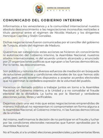 Declaración del gobierno interino tras las negociaciones de Capriles y Stalin González