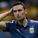 Argentina's coach Lionel Scaloni gestures during the Copa America football tournament group match against Colombia at the Fonte Nova Arena in Salvador, Brazil, on June 15, 2019. (Photo by Juan MABROMATA / AFP)