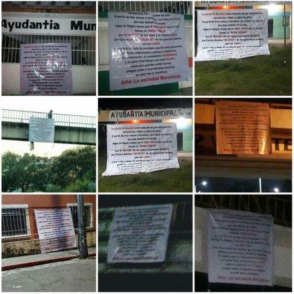 Al menos 20 narcomantas aparecieron en distintos municipios de Morelos (Foto: Twitter/LobaIndomable)