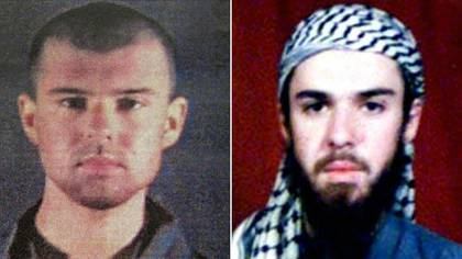 Dos fotos de John Walker Lindh, arrestado en Afganistán en noviembre de 2001, cuando integraba las fuerzas del Talibán, y liberado en mayo pasado al cumplir 17 años de su condena en Estados Unidos (AFP)