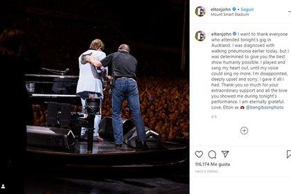 El mensaje que compartió en Instagram, junto a una imagen del momento en que se retira del escenario