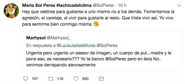 La respuesta de Sol Pérez.