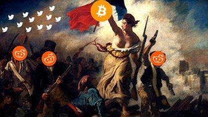 """""""La Libertad guiando al pueblo"""", el cuadro de Eugène Delacroix intervenido con bitcoin, Twitter y Reddit (@mbeaudroit)"""