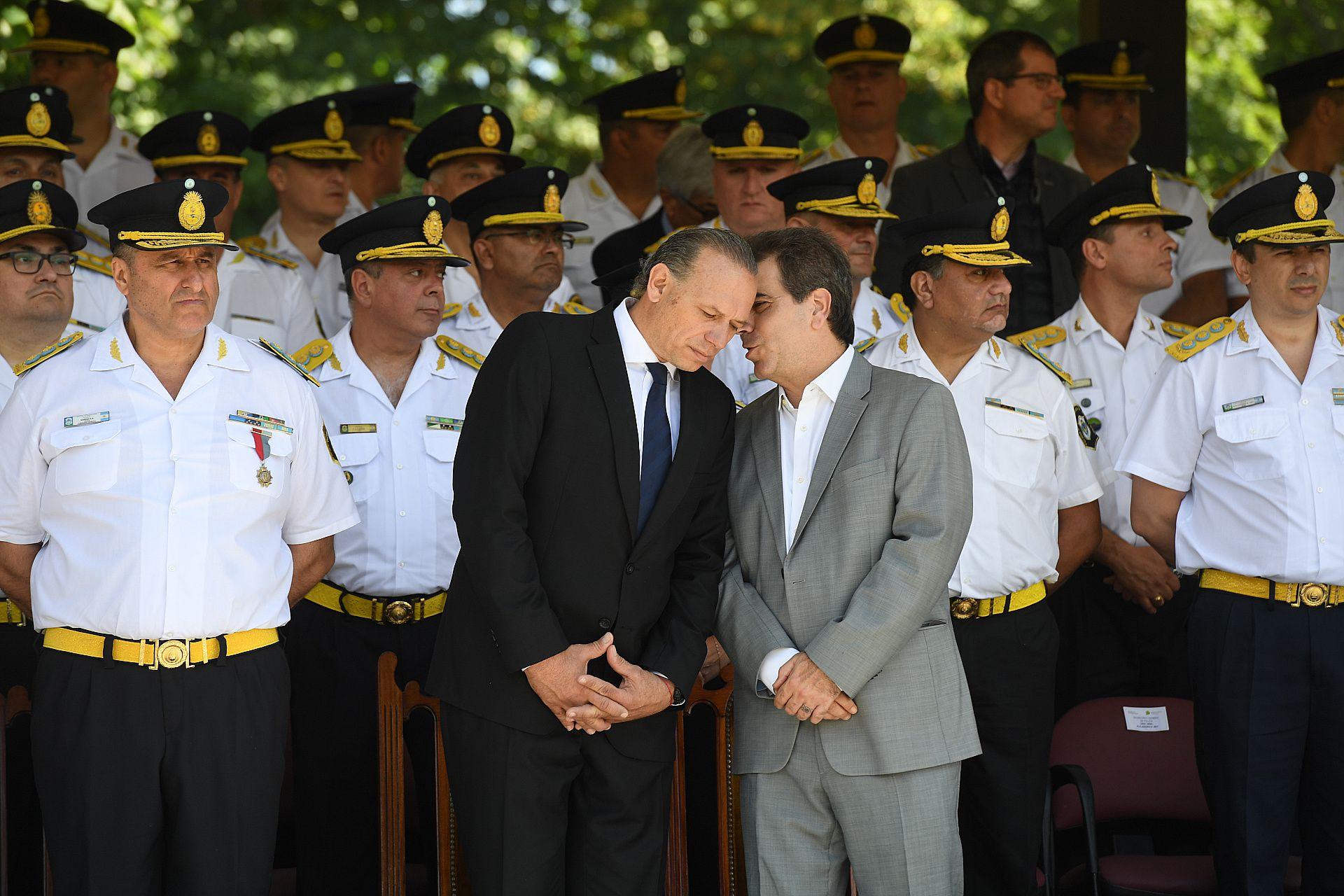Berni y Ritondo en 2019, en el comienzo de gestión del actual ministro en la escuela Juan Vucetich (Franco Fafasuli)