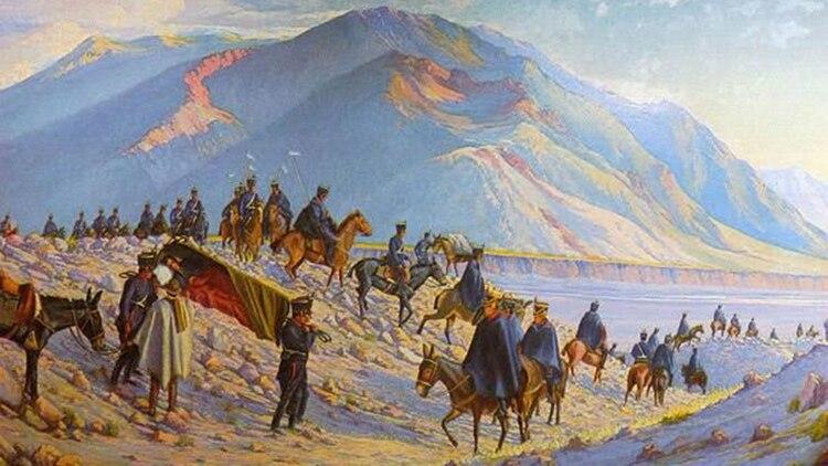 José de San Martín en el Cruce de los Andes.