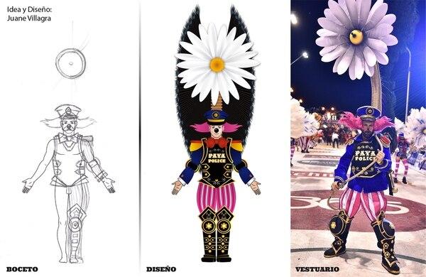 En exclusiva para Infobae, el boceto, el diseño y el vestuario terminado para el integrante de la comparsa 'Papelitos'