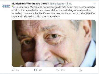 El tuit de Rottemberg del 6 de junio, anunciando que Alezzo se estaba recuperando