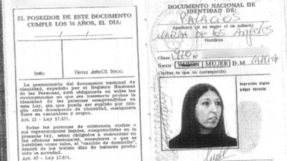 Otra identidad: el documento falso atribuído a la presunta falsificadora.