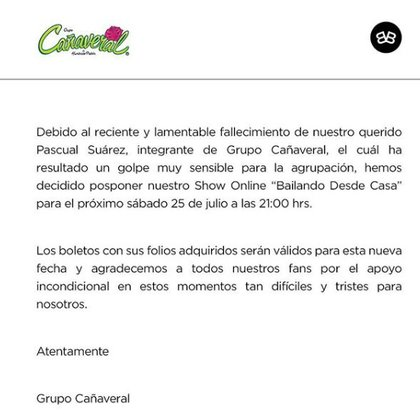 Fallece integrante de Grupo Cañaveral