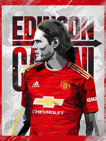 Con esta imagen el Manchester United presentó a Edinson Cavani