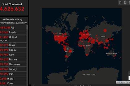 El mapa de John Hopkins con las cifras de coronavirus en el mundo ubica a Brasil como el cuarto país con más contagios