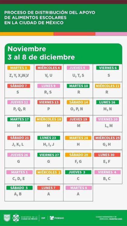 """Calendarización para la entrega de alimentos escolares del programa """"Mi Beca para Empezar"""" (Foto: Twitter@DIFCDMX)"""