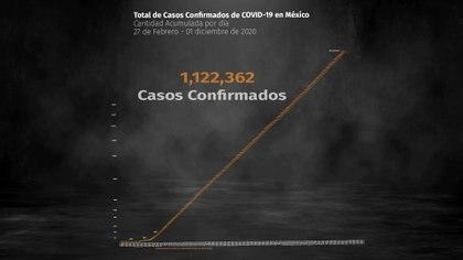 Hasta el 1 de diciembre de 2020 se registraron  1,122,362 casos confirmados acumulados y 106,765 defunciones por COVID-19 (Ilustración: Steve Allen)
