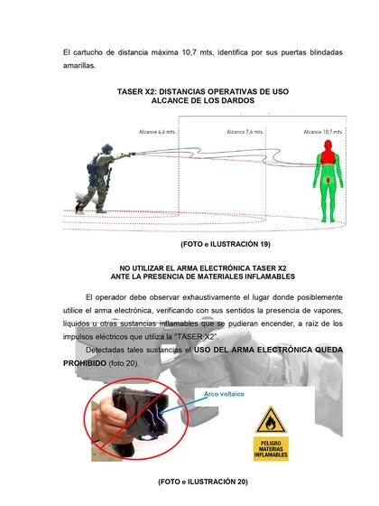 La descarga eléctrica de las pistolas Taser varía dependiendo de los cartuchos utilizados