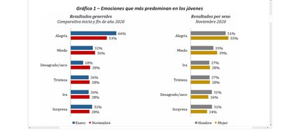 La alegría es la emoción que más decayó en los jóvenes en la pandemia. Gráfico elaborado por la Universidad del Rosario.