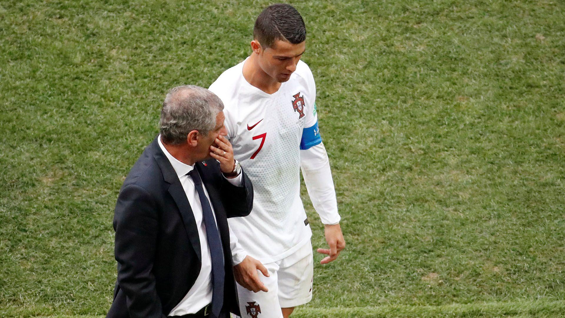 Santos y Cristiano, en el Mundial de Rusia 2018. Juntos conquistaron dos títulos: una Eurocopa y una Liga de las Naciones (REUTERS/Christian Hartmann)