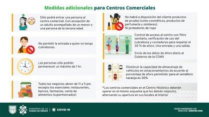 El gobierno de la Ciudad de México publicó las medidas sanitarias a respetar en centros comerciales (Foto:Twitter/@GobCDMX)