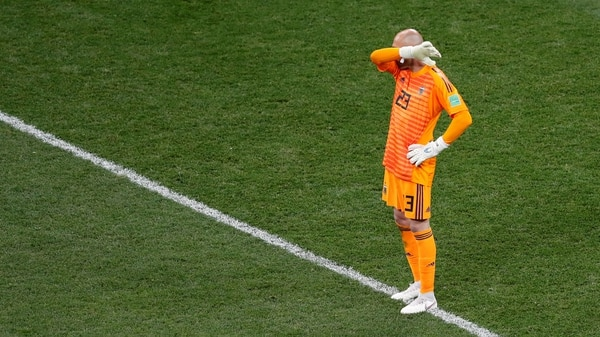 La frustración de Caballero, quien propició el 0-1 con su error. Foto: REUTERS/Carlos Barria