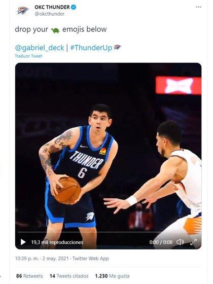 La cuenta de Oklahoma City Thunder sumó una consigna que causó furor en los fanáticos de Deck (Twitter)