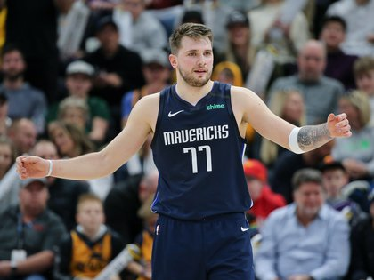 Jan 25, 2020; Salt Lake City, Utah, USA; Dallas Mavericks guard Luka Doncic (77) reacts after missing two foul shots against the Utah Jazz during the third quarter at Vivint Smart Home Arena. The Jazz won 112-107. Mandatory Credit: Chris Nicoll-USA TODAY Sports