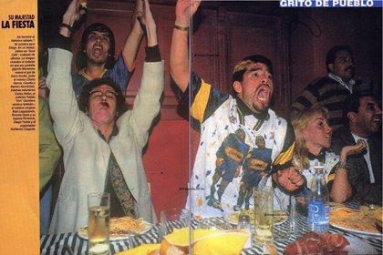 Charly García, Diego Maradona y Claudia Villafañe en una cena íntima cargada de euforia. Foto: @Diego10Querido