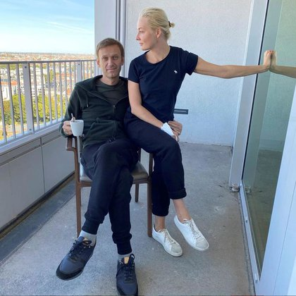 Russian opposition leader Alexei Navalny and his wife Yulia Navalnaya pose for a photo at Charite Hospital in Berlin, Germany.  Undated photo obtained from social networks on September 21, 2020. Courtesy of Instagram @ navalny / Social media via REUTERS