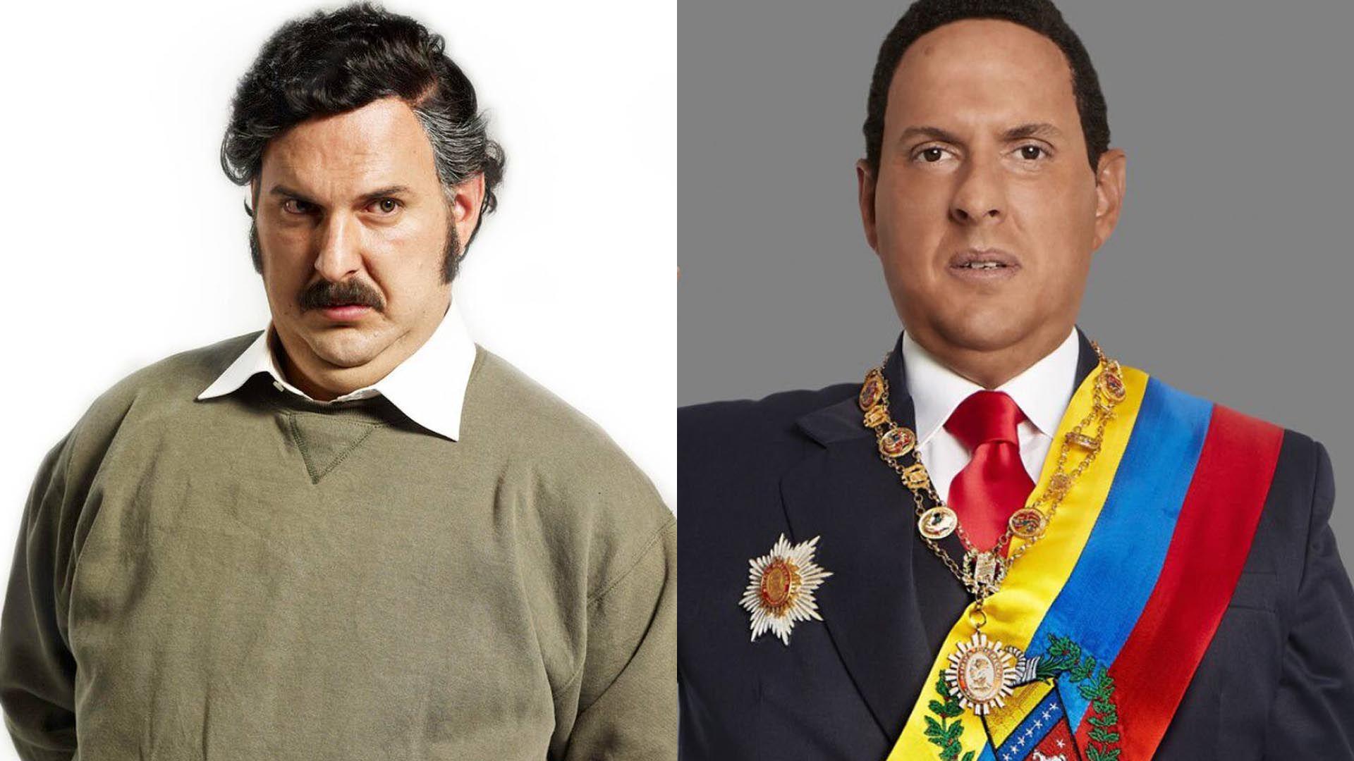 Andrés Parra como Pablo Escobar y como Hugo Chávez