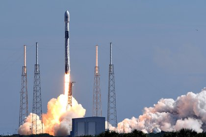 Cape Canaveral, Florida, United States - A SpaceX Falcon 9 rocket carrying 58 satellites for SpaceX's Starlink broadband internet network and three SkySat earth-imaging satellites launches from pad 40 at Cape Canaveral Air Force Station on August 18, 2020 in Cape Canaveral, Florida.