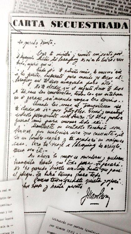 Una de las cartas que Perón le envió a Nelly desde la cañonera Paraguay