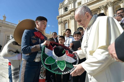 20 de septiembre de 2017.Un grupo de niños del pueblo indígena otomí en México participó este miércoles en la audiencia general del Papa Francisco.