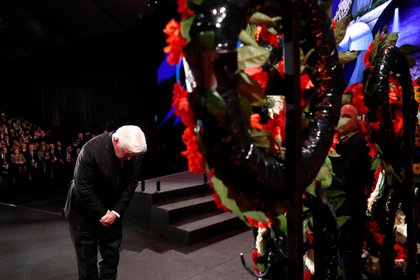 """El presidente alemán, Frank-Walter Steinmeier. Durante su discurso, reiteró que su país asume la responsabilidad completa por el genocidio nazi, pero indicó que no puede decir que su gente """"haya aprendido la lección"""". """"No puedo decirlo cuando el odio se está esparciendo"""", agregó. Foto: Ronen Zvulun/REUTERS"""