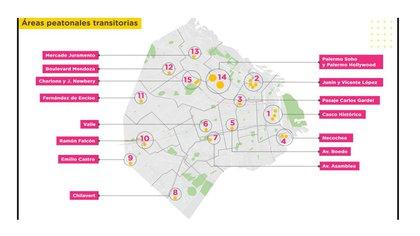 Las áreas peatonales transitorias que serán habilitadas durante las próximas semanas