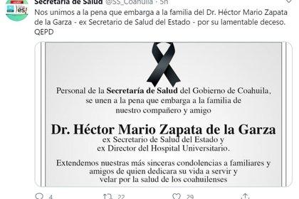 La Secretaría de Salud de Coahuila envió condolencias por la muerte de su ex titular (Foto: @SS_Coahuila)