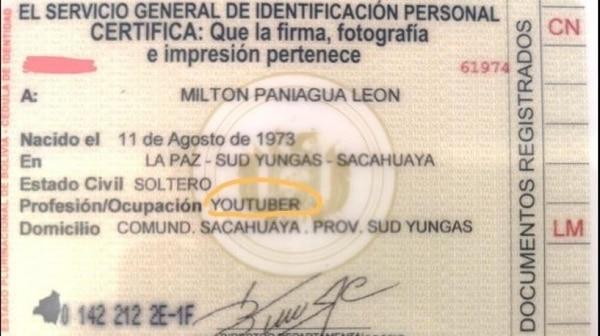 Milton Paniagua es el primer youtuber boliviano que logró que el Servicio General de Identificación Personal (SEGIP) incluyera esa ocupación (correodelsur)