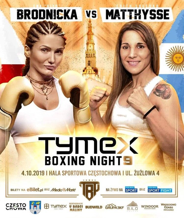 El póster de la pelea entre Ewa Brodnicka y Soledad Matthysse