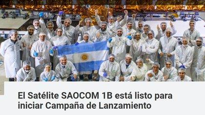 Más de 80 contratistas intervinieron en la construcción del Saocom 1B (Conae)