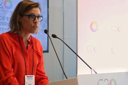 Laura Alonso, durante el evento asociado al G20 sobre transparencia en las empresas estatales