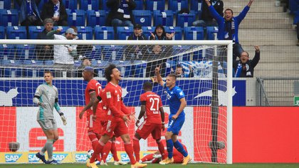 Soccer Football - Bundesliga - TSG 1899 Hoffenheim v Bayern Munich - PreZero Arena, Sinsheim, Germany - September 27, 2020. TSG 1899 Hoffenheim's Pavel Kaderabek celebrates their first goal scored by Ermin Bicakcic. REUTERS/Wolfgang Rattay DFL regulations prohibit any use of photographs as image sequences and/or quasi-video